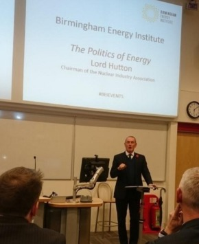 'Nuclear is the only proven low-carbon option for providing electricity the UK needs' states LordHutton