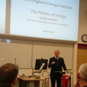 'Nuclear is the only proven low-carbon option for providing electricity the UK needs' states Lord Hutton